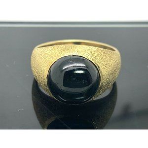 Black Star Diopside Dome Cabochon Ring 18k SZ 9.5